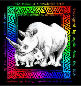The Rhino is a wonderful beast, Endangered by myths from the East. We must give no quarter To stop the slaughter Of the magnificent Rhino at least.