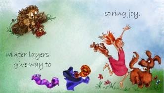 Knitting h'hog& dancing girl